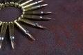 Group of ammunition geometrically placed. Ammo circle