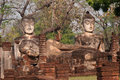 Group of ancient Buddhas in temple of Thailand . Royalty Free Stock Photo
