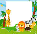 Group of animals and frame cartoon Stock Photo