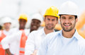 Group of architects and engineers at a building site Stock Photography