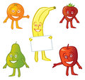 A group of assorted happy cartoon fruit characters Stock Photo