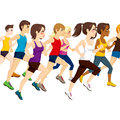 Group of athletes running side view illustration on marathon competition Royalty Free Stock Photo