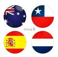 Group b australia chile spain netherlands at world cup Royalty Free Stock Photo