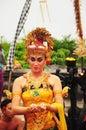 Group of Balinese dancers perform mythological drama Royalty Free Stock Photo