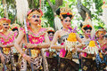 Group of Balinese dancers in traditional costumes Royalty Free Stock Photo
