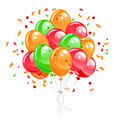 Group of balloons with confetti. vector illustration.