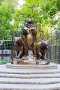 Group of bears statue in central park situated the pat hoffman friedman playground Royalty Free Stock Image