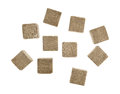 Group of beef flavored bouillon cubes on a white background Royalty Free Stock Photo