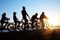 Group on bicycles Stock Photography