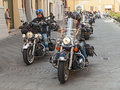 A group of bikers riding harley davidson american motorbikes at motorcycle rally sangiovese tour by ravenna chapter on september Stock Photography