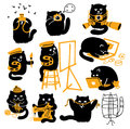 Group of black cats creative professions vector characters set with yellow objects different Stock Photo