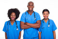 Group black doctors nurses isolated white Stock Image