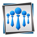 Group blue of human icons with tie in color Royalty Free Stock Photos