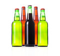 Group of Bottles with frosty light beers  Stock Photo