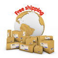Group of boxes with globe Stock Photography