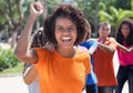 Group of brazilian young adults celebrating carnival Royalty Free Stock Photo