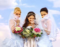 Group bride and groom summer outdoor wedding thumb up Stock Images