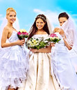 Group bride  summer outdoor. Royalty Free Stock Photography