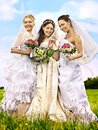 Group bride summer outdoor or happy wedding Stock Image