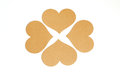 Group of brown heart tag, made from recycle paper Royalty Free Stock Photo
