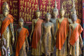 A group of buddha statues (standing) Royalty Free Stock Photo