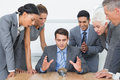 Group of business man predict the future men with a crystal ball Stock Photography