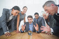Group of business man predict the future men with a crystal ball Stock Photos