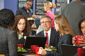 Group of Business People in Cafe Royalty Free Stock Photo