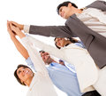 Group business people celebrating their teamwork high five Stock Photography