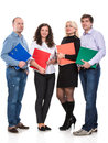 Group of business people with folders on a white background Royalty Free Stock Image