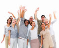 Group business people with hands up in air Stock Photography