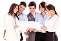Group business people holding documents smiling isolated over white Royalty Free Stock Photos