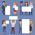 Group of business people holding presenting empty banner corporate characters vector illustration