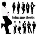 Group of business people and office Royalty Free Stock Images