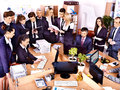 Group business people in office happy Stock Photography