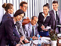 Group business people in office happy Royalty Free Stock Image