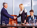 Group business people in office happy handshake Royalty Free Stock Image