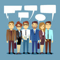 Group of business people talking. Teamwork vector concept with human persons and speech bubbles Royalty Free Stock Photo