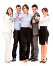 Group business people thumbs up isolated over white background Royalty Free Stock Photo