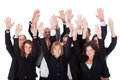 Group of business people waving in acknowledgment high angle view a diverse an accolade isolated on white Stock Photos