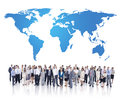 Group of Business People and World Map Royalty Free Stock Photo