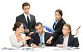 Group of business team discussing executives debating while sitting at the table isolated concept teamwork and cooperation Royalty Free Stock Photos