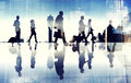 Group of Business Travelers Walking in the Airport Royalty Free Stock Photo