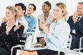 Group of businesspeople clapping in seminar happy multiracial at Royalty Free Stock Image