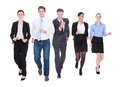 Group of businesspeople running happy in over white background Stock Photos