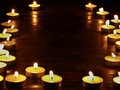 Group of  candles on  black background. Royalty Free Stock Image