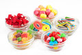 Group of candy in glass bowls a Royalty Free Stock Photo
