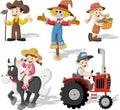 Group of cartoon farmers