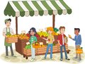 Group of cartoon teenager buying fruits at a street market stand. Local farmer selling fresh fruit on the street market. Royalty Free Stock Photo