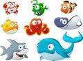 Group of cartoon underwater animal. Royalty Free Stock Photo